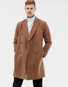 Двубортное пальто темного верблюжьего цвета с добавлением шерсти ASOS DESIGN - Рыжий