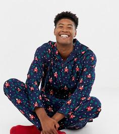 Пижама с новогодним принтом ASOS DESIGN TALL - Темно-синий