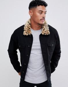Джинсовая куртка с искусственным леопардовым мехом ASOS DESIGN - Черный