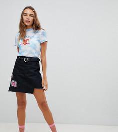 Джинсовая мини-юбка с нашивками Cli Cli By Clio Peppiatt - Черный