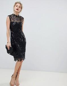 Черное кружевное платье-футляр миди с пайетками Paper Dolls - Черный