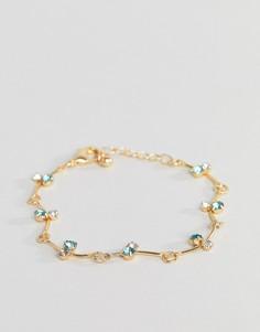 Золотистый браслет-цепочка с камнем изумрудного цвета ASOS DESIGN - Золотой