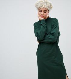 Темно-зеленое трикотажное платье миди Monki - Зеленый