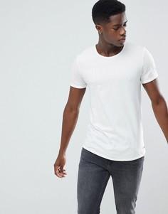Длинная футболка с необработанным асимметричным краем Esprit - Белый