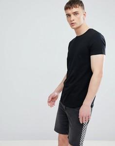 Черная длинная обтягивающая футболка с асимметричным краем Esprit - Черный