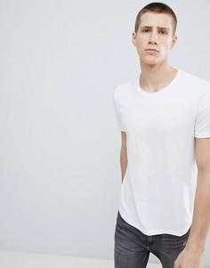 Белая удлиненная футболка с круглым вырезом Esprit - Белый