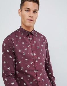 Приталенная эластичная рубашка с цветочным принтом Celio - Фиолетовый