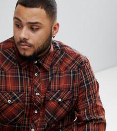 Рубашка в клетку с длинными рукавами и двумя нагрудными карманами Replika Plus - Красный