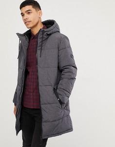 Серое дутое пальто с капюшоном Esprit - Серый