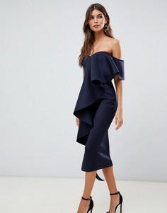 Темно-синее облегающее платье-бандо миди с оборкой True Violet - Темно-синий