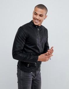 Куртка из искусственной кожи с карманами Solid - Черный