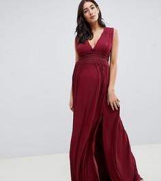 Платье макси с плиссировкой ASOS DESIGN maternity premium - Красный