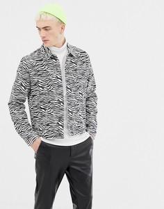Джинсовая куртка с зебровым принтом ASOS DESIGN - Белый