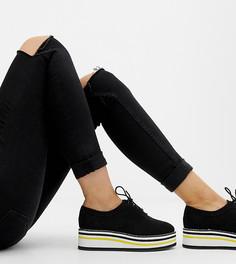 Туфли на плоской подошве для широкой стопы ASOS DESIGN - Черный