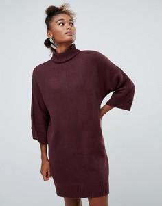Бордовое трикотажное платье с высоким воротником Monki - Красный