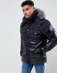 Черная дутая куртка River Island - Черный