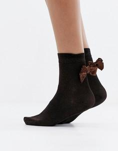 Коричневые носки с блестками и бантом Monki - Коричневый