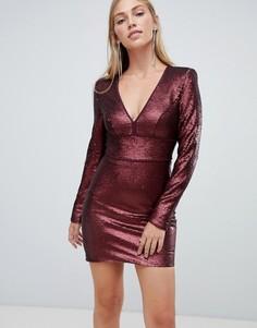 Бордовое платье мини с пайетками Forever New - Красный