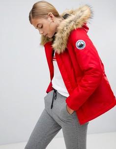 Красная парка с искусственным мехом Boohoo luxe - Красный