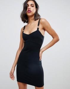 Черное облегающее платье мини с металлической отделкой River Island - Черный