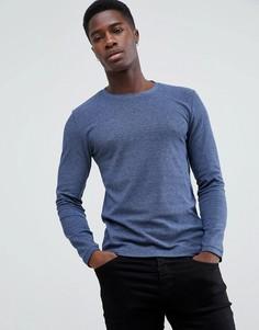 Темно-синий лонгслив из 100% мериносовой шерсти Esprit - Темно-синий