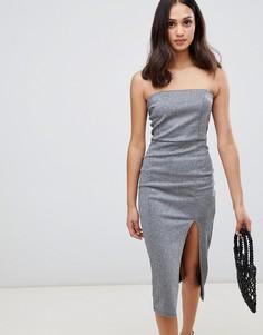 Серебристое платье-футляр Miss Selfridge - Серебряный