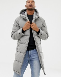 Удлиненная серая дутая куртка Bershka - Серый
