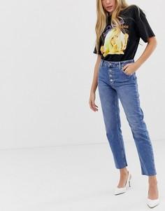 Прямые джинсы на пуговицах Miss Selfridge - Синий