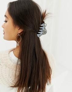 Заколка для волос с отделкой Pieces Mira - Серый