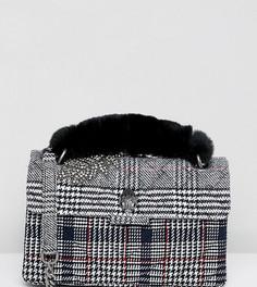 Серая твидовая сумка на плечо с ручкой из искусственного меха Kurt Geiger Kensington - Черный
