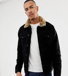 Джинсовая куртка с меховым леопардовым воротником ASOS DESIGN Tall - Черный