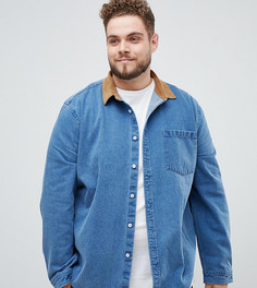 Джинсовая рубашка навыпуск с вельветовым воротником и манжетами ASOS DESIGN Plus - Синий