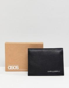 Черная кожаная кредитница с серебристым тиснением ASOS DESIGN - Черный