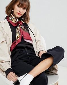 Большой квадратный платок на голову/шею с леопардовым принтом ASOS DESIGN - Мульти