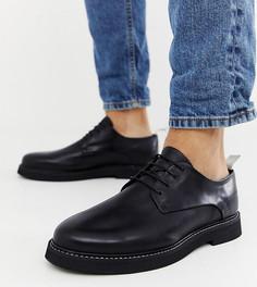 Черные кожаные туфли на шнуровке для широкой стопы ASOS DESIGN - Черный