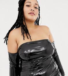 Платье миди с открытыми плечами ASOS DESIGN x LaQuan Smith Curve - Черный