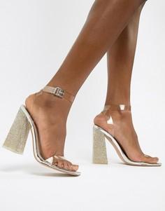 Босоножки на каблуке с отделкой Public Desire Ayda - Серебряный