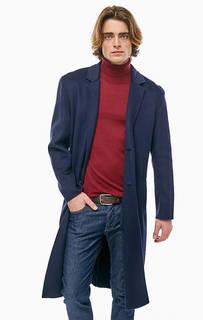 Синее пальто из полушерсти United Colors of Benetton