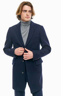 Полушерстяное пальто темно-синего цвета United Colors of Benetton