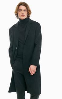 Черное пальто из полушерсти United Colors of Benetton