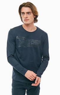 Синяя хлопковая футболка с длинными рукавами Gas