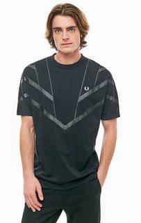 Хлопковая черная футболка с принтом и вышивкой Fred Perry