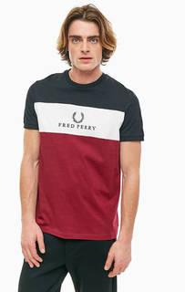 Трехцветная хлопковая футболка с вышивкой Fred Perry