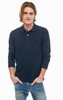 Темно-синяя футболка поло из хлопка United Colors of Benetton