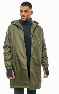 Длинная демисезонная куртка цвета хаки с капюшоном Cheap Monday