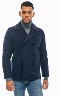 Двубортное шерстяное полупальто синего цвета Gant