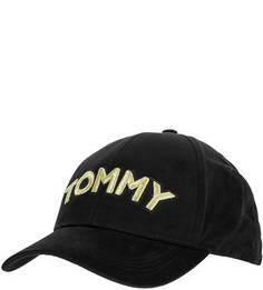 Хлопковая черная бейсболка с вышивкой Tommy Hilfiger