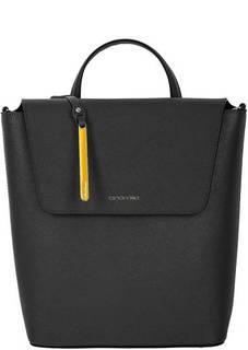 Черная кожаная сумка-рюкзак с откидным клапаном Cromia