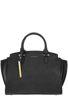 Кожаная сумка черного цвета с одним отделом Cromia