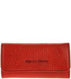 Кожаная красная ключница с откидным клапаном Gianni Conti